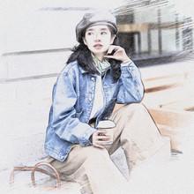 三木穿ge秋装19年se套韩款酷的女装帅气牛仔衣休闲宽松夹克酷