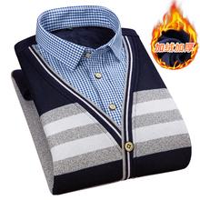 冬季新ge男士衬衫保bo件百搭加绒加厚V领打底衫韩款修身长袖