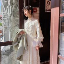 梅子熟ge 文艺法式bo腰蕾丝长袖连衣裙女 春季2020年新式