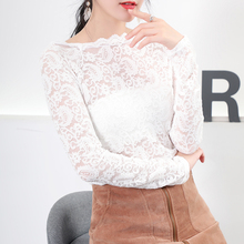 春夏季ge式时尚网红bu韩款薄蕾丝打底衫女网纱上衣衬衫女神衣