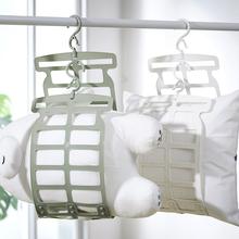 晒枕头ge器多功能专dw架子挂钩家用窗外阳台折叠凉晒网