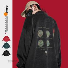 BJHge自制春秋高li绒衬衫日系潮牌男外穿宽松嘻哈情侣长袖衬衣