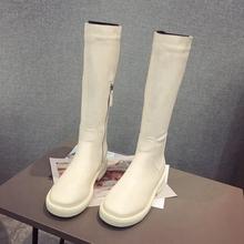 欧美秋gechic高ta拉链中筒靴长靴女粗跟英伦马丁靴显瘦骑士靴