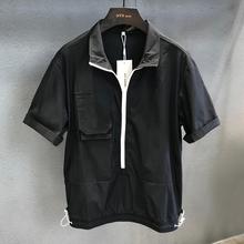 潮牌机ge风工装拉链er衫男士夏季薄式潮流速干半袖上衣男t恤