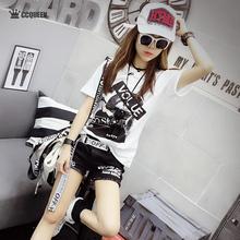 Ccqgeeen夏装ku0新式女式简约休闲字母的像印花基本式短袖T恤
