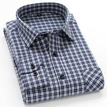202ge春秋季新式ku衫男长袖中年爸爸格子衫中老年衫衬休闲衬衣