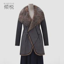 倾悦2ge19冬季新ku大衣显瘦拼接中长式保暖羊毛皮草外套夹克女