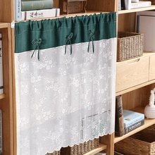 短窗帘ge打孔(小)窗户ku光布帘书柜拉帘卫生间飘窗简易橱柜帘