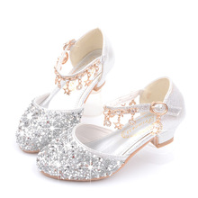 女童高跟公ge皮鞋钢琴表rg的银色中大童(小)女孩水晶鞋演出鞋