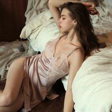 今夕何ge 夏季性感ma透明蕾丝冰丝睡裙薄式情趣诱惑吊带短裙