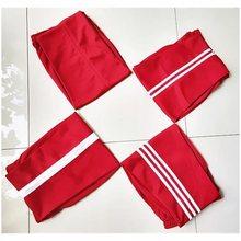 红色校服裤子男女学生裤休闲裤ge11筒裤(小)ma服裤运动裤