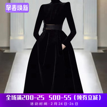 欧洲站ge021年春ma走秀新式高端女装气质黑色显瘦丝绒潮