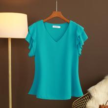 大码夏ge新式短袖Vmp上衣t恤女士欧洲站宽松百搭遮肚洋气(小)衫