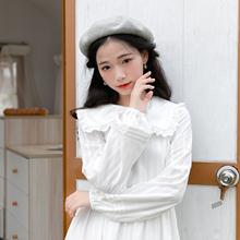 蝴蝶结ge衣裙法式初mp搭森系少女棉约会白色秋装新式中长