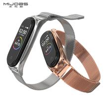 适用(小)ge手环6/5gu磁吸 (小)米手环3/4腕带NFC款(小)米手环5手腕带金属编织