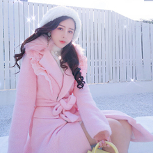 粉色毛ge外套女花边ao长式韩款系带收腰大毛领(小)个子呢子大衣