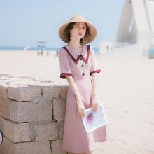 202gf夏季新式女dc子仙女超仙森系轻熟风气质洋气的复古连衣裙