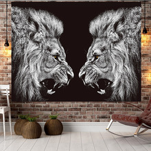 北欧狮gf背景布indc装饰布艺挂画少女网红床头挂毯宿舍