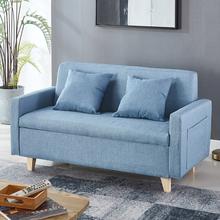 北欧简易双gf的店铺沙发zp型出租房客厅卧室布艺储物收纳沙发