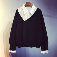 假两件gg织衫202ji新式韩款短式宽松套头打底毛衣外套上衣女装