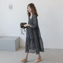 孕妇装gg021春装rc纺长裙 韩款气质大码宽松孕妇夏装连衣裙潮