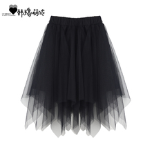 宝宝短gh2020夏ne女童不规则中长裙洋气蓬蓬裙亲子半身裙纱裙
