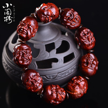 印度赞gh亚(小)叶紫檀ne八罗汉手链精细雕刻男女血檀佛珠老料
