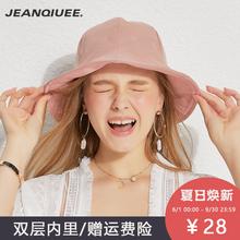 帽子女gh款潮百搭渔hw士夏季(小)清新日系防晒帽时尚学生太阳帽