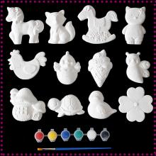 宝宝彩gi石膏娃娃涂lediy益智玩具幼儿园创意画白坯陶瓷彩绘