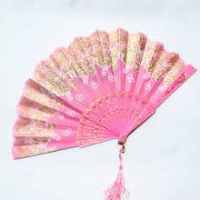 扇子古gi折扇蕾丝扇le国风女广场舞扇子古风宝宝折叠扇夏季扇