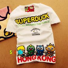 热卖清gi 香港潮牌on印花棉卡通短袖T恤男女装韩款学生可爱