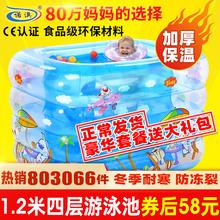 诺澳婴儿游泳池充气gi6温婴幼儿on泳桶家用洗澡桶新生儿浴盆