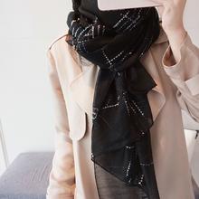 丝巾女gi季新式百搭de蚕丝羊毛黑白格子围巾长式两用纱巾