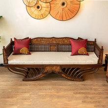 异丽东gi亚风格家具rd典实木罗汉床泰式仿古柚木雕客厅沙发床