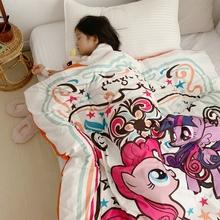 卡通宝gi绒秋冬被芝se兰绒午睡被加厚保暖宝宝被子单的棉被