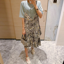 Pingi Daisea东大门裙子2020年新式夏天宽松蕾丝拼接印花连衣裙