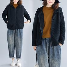 冬装女gj019新式ge码加绒加厚连帽棉衣休闲百搭宽松拉链短外套