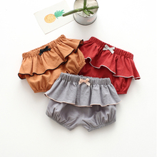 女童短gj外穿夏棉麻hm宝宝热裤纯棉1-4岁灯笼裤2宝宝PP面包裤