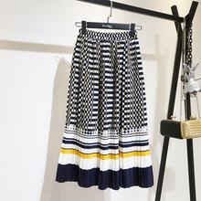 中长式gj2021春xp新式高腰松紧显瘦A型百褶裙撞色