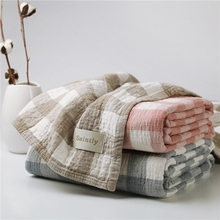 日本进gj毛巾被纯棉er的纱布毛毯空调毯夏凉被床单四季