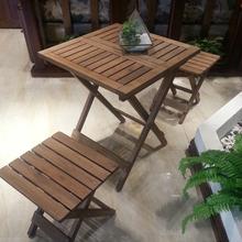 实木家gj简约折叠方er(小)户型组合茶几餐桌椅两用阳台(小)桌子
