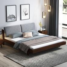实木床gj代简约主卧er米双的床1.5m北欧式软靠床1.2