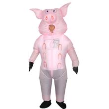 【出租gk运动会入场dq装道具粉色生肖猪行走充气