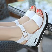 足意尔gl2020夏sz女鞋真皮高跟坡跟厚底防滑女凉鞋松糕跟露趾