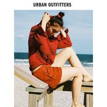 UO-glrban ntfitters连帽法兰绒休闲衬衫女装复古条格宽松套头衫