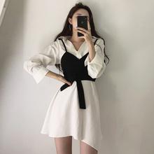 韩国cglic复古修zs裹胸吊带背心+翻领纯色显瘦不规则连衣裙女