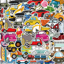 40张gl通汽车挖掘ew工具涂鸦创意电动车贴画宝宝车平衡车贴纸