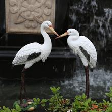 花园庭gl户外假山鱼de造景摆件仿真仙鹤摆件树脂动物白鹭摆件