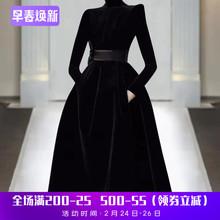欧洲站gl021年春de走秀新式高端气质黑色显瘦丝绒连衣裙潮