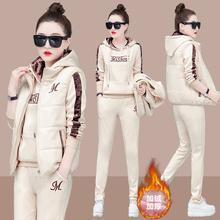 大码宽松卫gl2三件套女po20新式时尚加绒加厚休闲运动服套装女